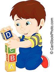 junge, spielen block, alphabet