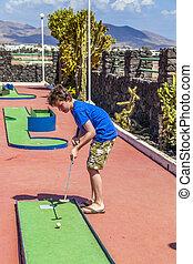 junge, spielen, lieben, mini-golf