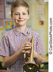 junge, spielen, schule, musik, lernen, lektion, trompete