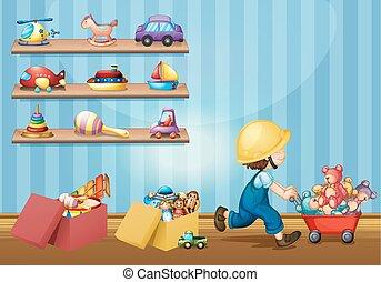 Kinderzimmer clipart  Junge, kind, spielende , spielzeuge. Junge, seine, abbildung, playng ...