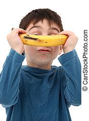 junge, spielende , banane