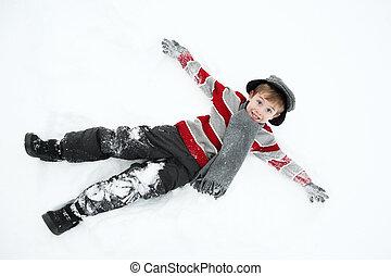 junge, spielende , schnee