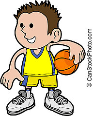 junge, spieler, basketball, abbildung