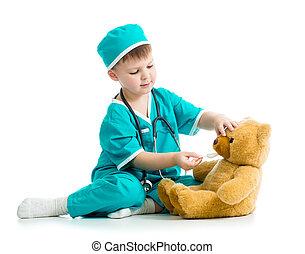 junge, spielzeug, spielende , kind, doktor