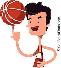junge, spinnen, basketball, finger, kugel