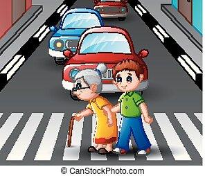 junge, straße, hilft, grossmutter, überfahrt, karikatur