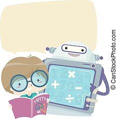 junge, studieren, roboter, abbildung, zahlen, mathe, kind