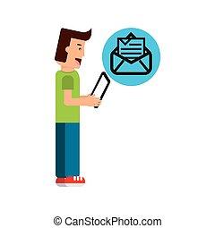 junge, tablette, zeichen, briefkuvert, newsletter,...