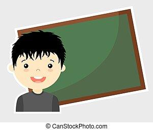 Tafel wischen clipart  Vektor Illustration von junge, tafel - school.child, blackboard ...