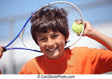 junge, tennis, spielende
