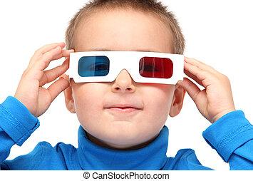 junge, tragen, gläser 3d