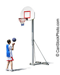 junge, training, basketball