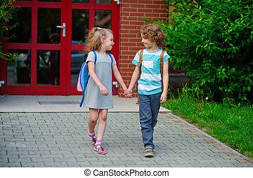 junge, und, gehen, zu, schule, haben, verbunden, hands.