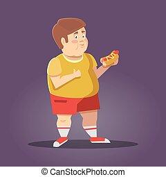 junge, ungesund, dicker , schnell, essen., vektor, abbildung, eating., karikatur