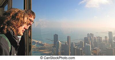 junge, vereint, chicago, tourist, chicago, hancock, bucht,...