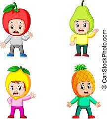 junge, verschieden, sammlung, posierend, kostüm, früchte, gebrauchend, kinder