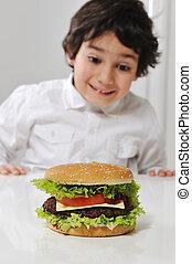 junge, wenig, arabisches , hamburger