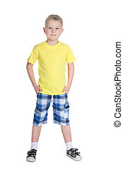 Junge, wenig,  blond, männerhemd, gelber