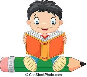 junge, wenig, buch, lesende , karikatur