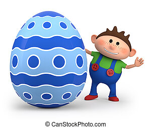 Junge, wenig, ei, Ostern