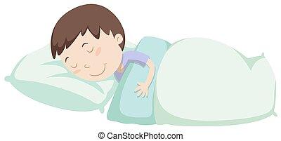 junge, wenig, eingeschlafen, decke, unter