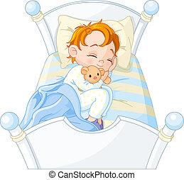 junge, wenig, eingeschlafen