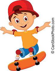 junge, wenig, karikatur, skateboardfahren