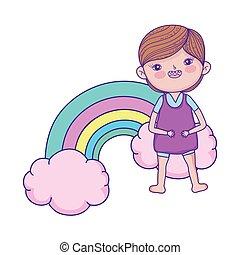 junge, wenig, kinder, zone, regenbogen