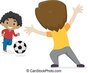 junge, wenig, kinder, zwei, abbildung, vektor, fußball, spielende