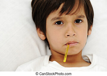 junge, wenig, liegende , bett, thermometer, krank