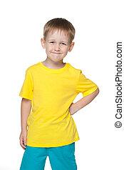 Junge, wenig, männerhemd, gelber, Lächeln