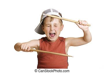 junge, wenig, schlagzeugspieler