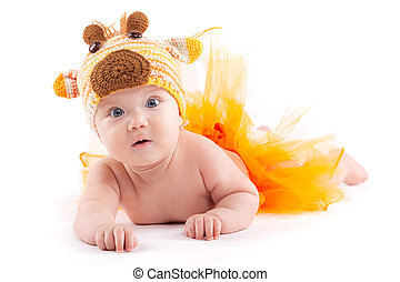 junge, wenig, schoenheit, hirsch, kostüm, orange, rock