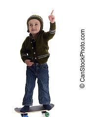 junge, wenig, skateboardfahren