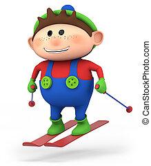 junge, wenig, ski fahrend