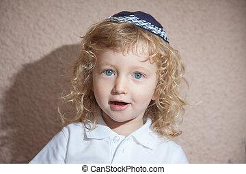 junge, wenig, skullcap, jüdisch, locken, blond