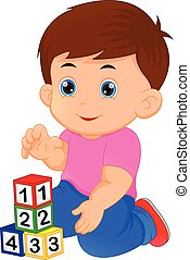 junge, wenig, spielen block, alphabet