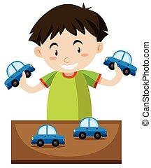 junge, wenig, spielzeug, spielende , autos