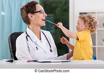 junge, wenig, verabredung, medizin, während