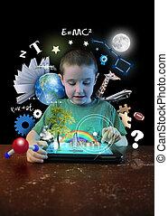 junge, werkzeuge, lernen, tablette, internet