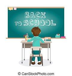 Tisch schule clipart  Vektor Clipart von junge, schule, sitzen, tisch - junge, schule ...