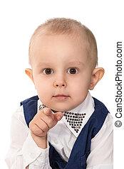 junge, zeigen, fotoapperat, mit, seine, finger