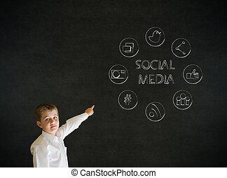 junge, zeigen, geschäfts-ikon, medien, sozial, mann
