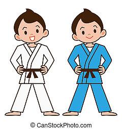 junge, zu, judo