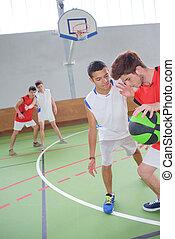 jungendliche, basketball, spielende