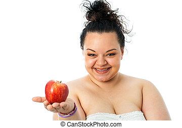 junger, übergewichtige , m�dchen, besitz, rotes , apple.