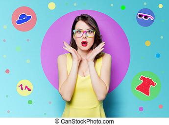 junger, überrascht, frau, in, brille
