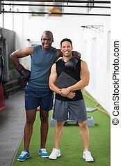 junger, afrikanisch, boxer, mit, seine, trainer