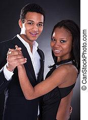 junger, afrikanisch, ehepaar, tanzt