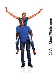 junger, afrikanisch, paar, huckepack